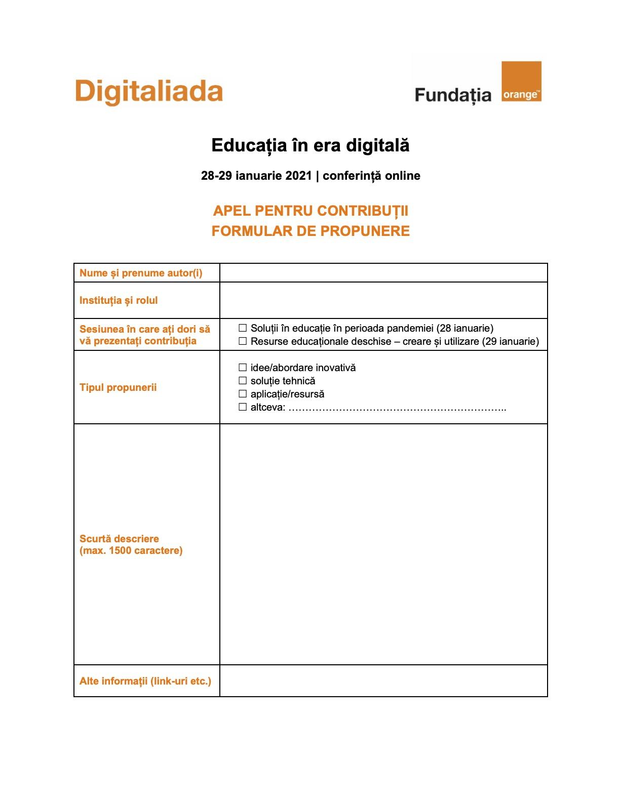 Formular de propunere pentru conferința Educația în era digitală